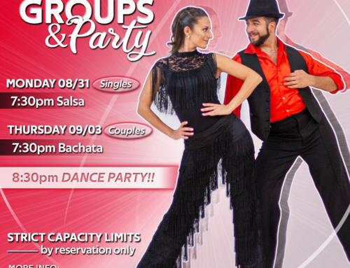JOIN US! Group Classes: SALSA 8/31, BACHATA & PARTY 9/3
